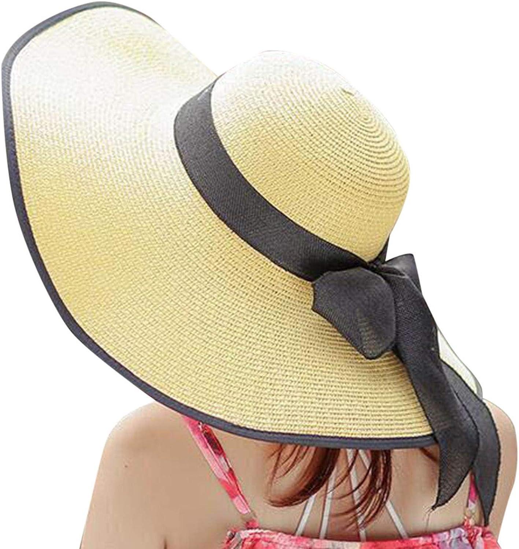 Casual Outdoor Summer Hats for Women Decorated Womens Sunscreen Folding Beach Hat Sun Hat Beach Bow Sun Shade Straw Hats