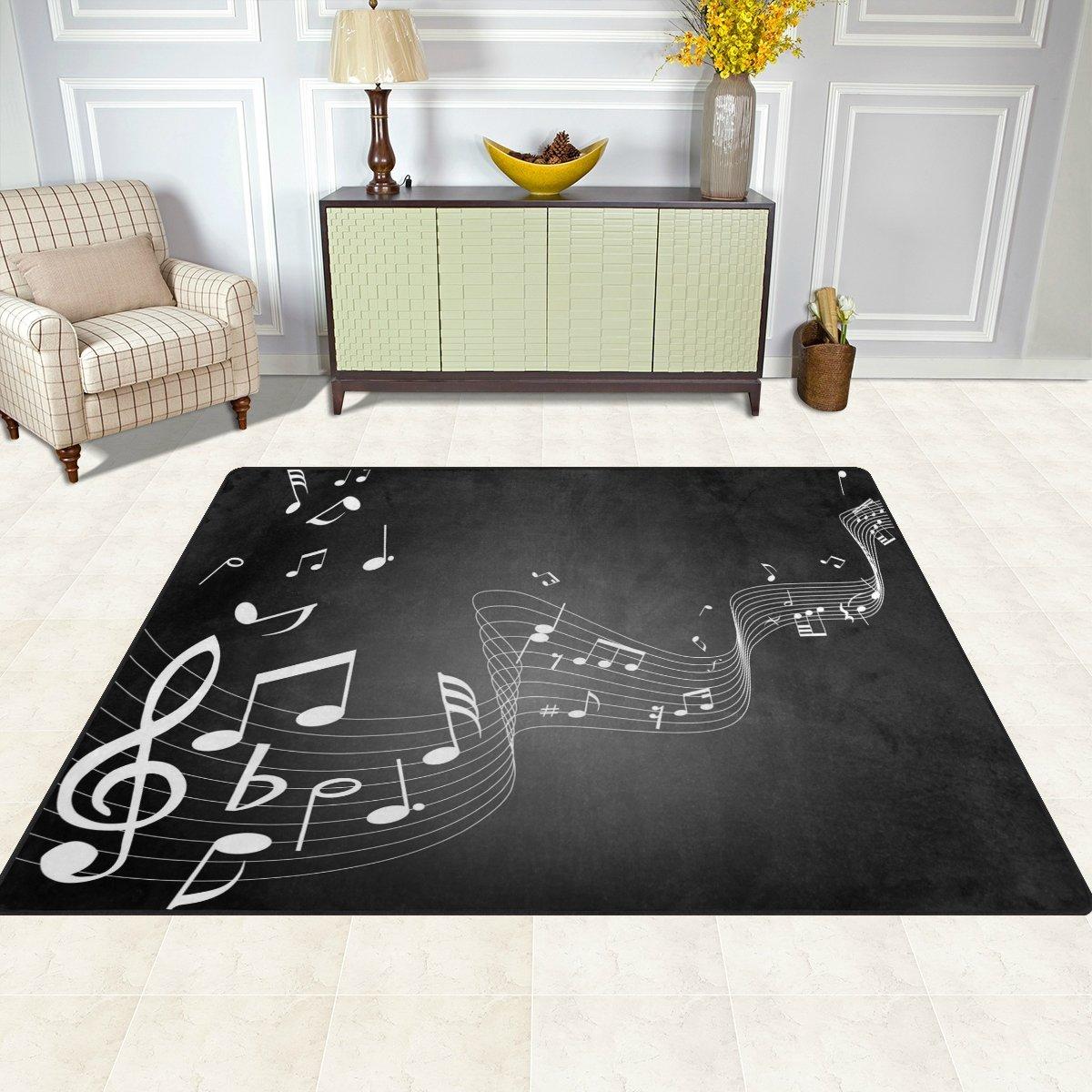 Ingbags Super Weiche Moderne Noten Musik, ein Wohnzimmer Teppiche Teppiche Teppiche Teppich Schlafzimmer Teppich für Kinder Play massiv Home Decorator Boden Teppich und Teppiche 160 x 121,9 cm, multi, 80 x 58 Inch 8939e1
