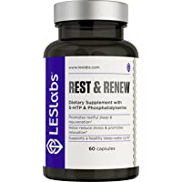LES Labs Rest & Renew, Natural Sleep Aid for Deep Relaxation and Recovery, Non-Habit Forming, 60 Capsules