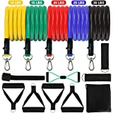 MEYUEWAL Resistance Bands Set, Chest Exercise Bands with Handles (180 lbs) Training Tube with Door Anchors and Legs Ankle Str