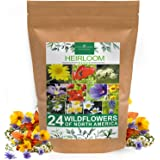 Wildflower Seeds | Bulk Mix of 24 Different Varieties of Non-GMO Wildflower Seeds 3oz | Bee and Butterfly Garden Seeds | Colo