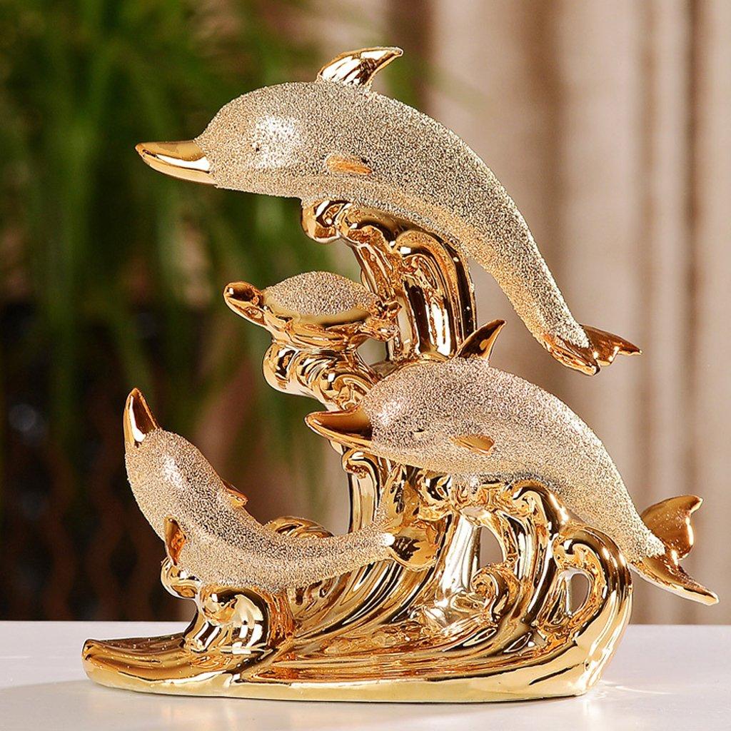 AA-SS-Decoration Decorazioni Creative per Matrimoni a casa Dolphin bay Ornamenti di Ceramica placcati in oro Ornamenti Soggiorno Portico Arredo casa Nuova Europea
