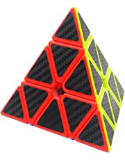 Triángulo Pyraminx Puzzle Cube Coolzon® Pyramid Cubo Magico con Pegatina de Fibra de Carbono Velocidad