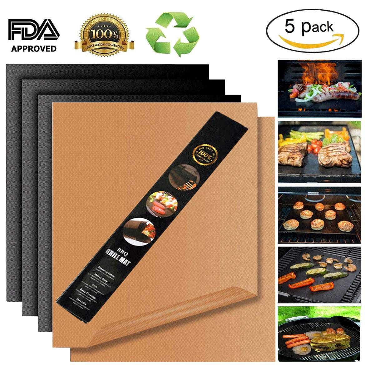 Miroksh Copper Grill Mat,Non Stick BBQ Baking Mat Set of 5 Reusable,Easy to Clean PTFE Teflon Fiber Grill Roast Sheets Gas, Charcoal, Electric Grill (Gold Black