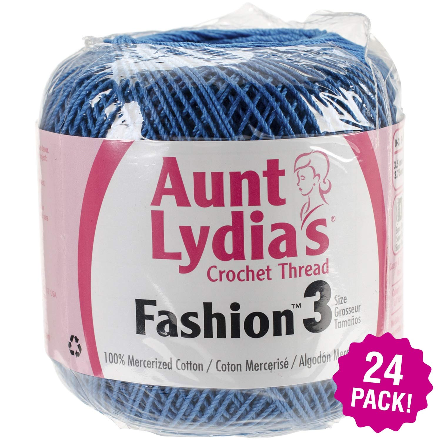 Aunt Lydia's 96911 Fashion Crochet Thread Size 3-Blue Hawaii, Multipack of 24 by Aunt Lydia's (Image #1)