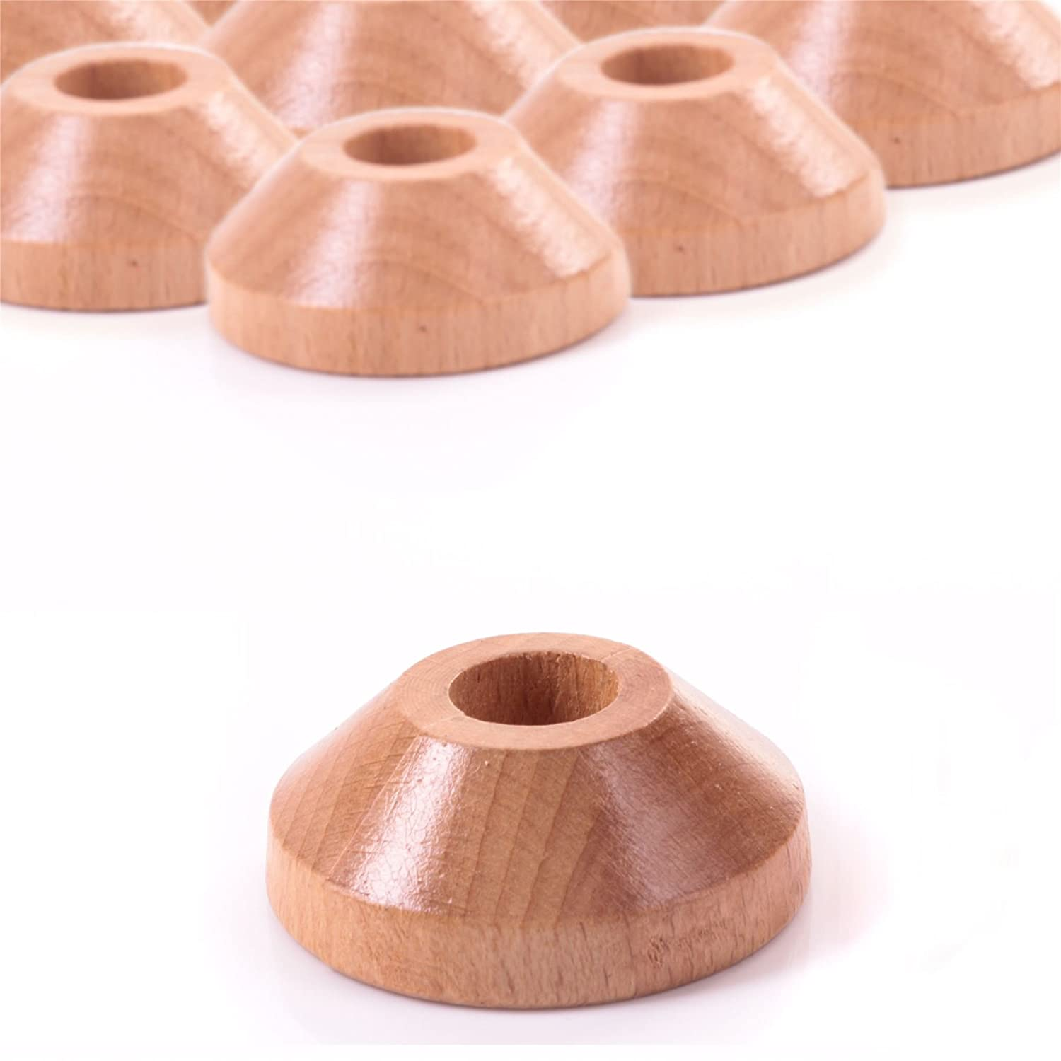 10x Solid Oak Pipe Collars - Radiator Cover Ring For Surround Finish White Hinge