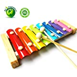 GearRoot Wooden Xylophone Baby Musical Toy Instrument Piano with 8 Colored Metal Key with 2 Child-Safe Mallets for Kids Toddlers
