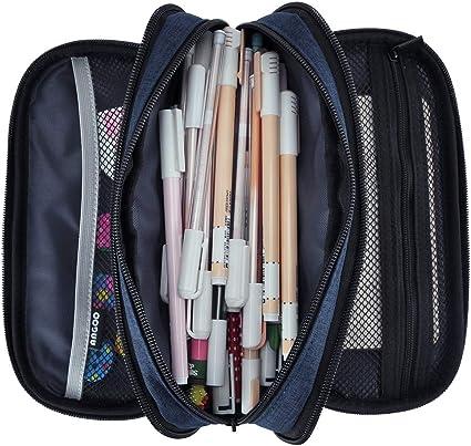 iSuperb Plumier Colegio Estuche Escolar Niño Bolsa Pencil Case para Lapices Estudiante Pen Holder Mujer Lápiz Bolsa para Adolescentes (Azul oscuro): Amazon.es: Oficina y papelería