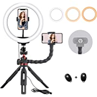 Rimposky 26cm Selfie Ring Light with Tripod Stand,Webcam Light-Video Conference Lighting,Portable Desktop Ring Light For…