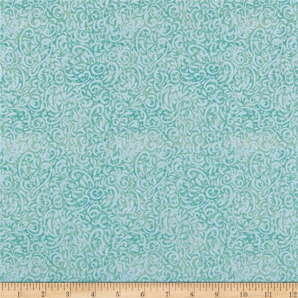 Springs Creative Products Susan Winget Iridescent Peacock Swirl Quilt Fabric, Teal, Quilt Fabric By The Yard