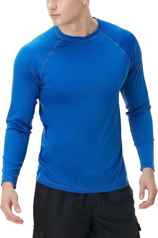 TSLA 1 or 2 Pack Men's Rashguard Swim Shirts, UPF 50+ Loose-Fit Long Sleeve Shirts, Cool Running Workout SPF/UV Tee Shirts: Clothing