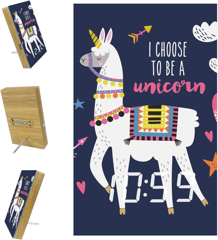 Lyetny Funny Alpaca I Choose to Be A Unicorn Digital Acrylic LED Alarm Clock for Home, Dormitory, Office