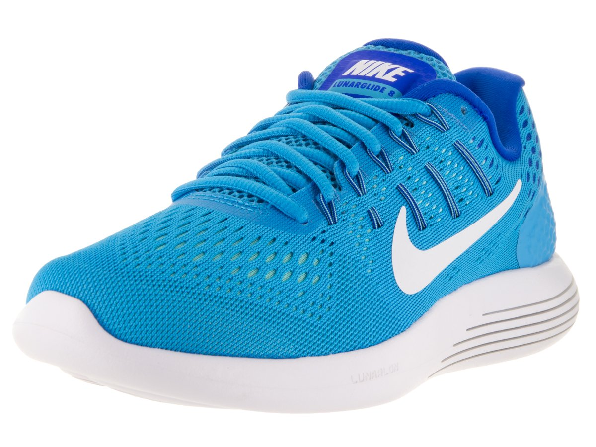 Nike Womens Lunarglide 8 Blue Glow/White/Rcr Blue/Hypr Turq Running Shoe 8 Women US