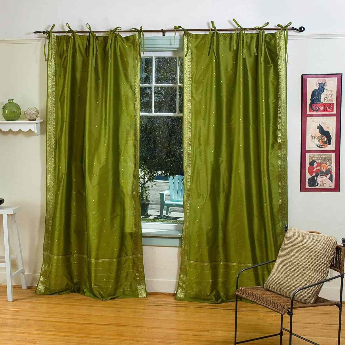 Indian Selections Olive Grün Krawatte Top Sheer Sari Vorhang Fall Panel – Paar, Polyester, Grün, 60 X 108 Inches