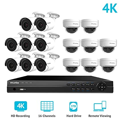5b3e88a4f LaView 16 Channel Ultra HD 4K Home Security Camera System with 8 x 8MP IP  Bullet