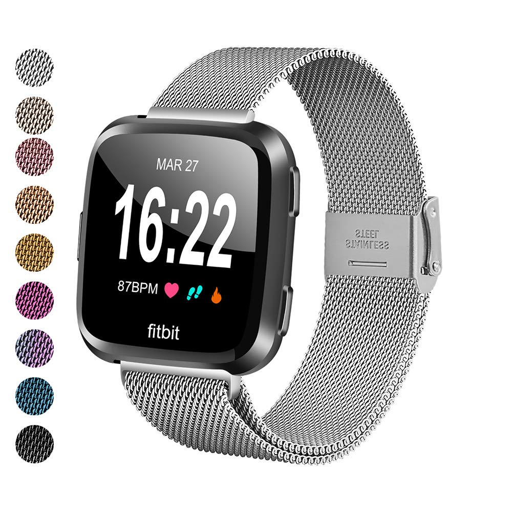 MEFEO Compatible with Fitbit Versa Bands, Stainless Steel Metal Band Mesh Bracelet with Strong Magnet Lock Wristbands Replacement for Fitbit Versa/Versa 2/Versa Lite/SE (Silver, Small) by MEFEO