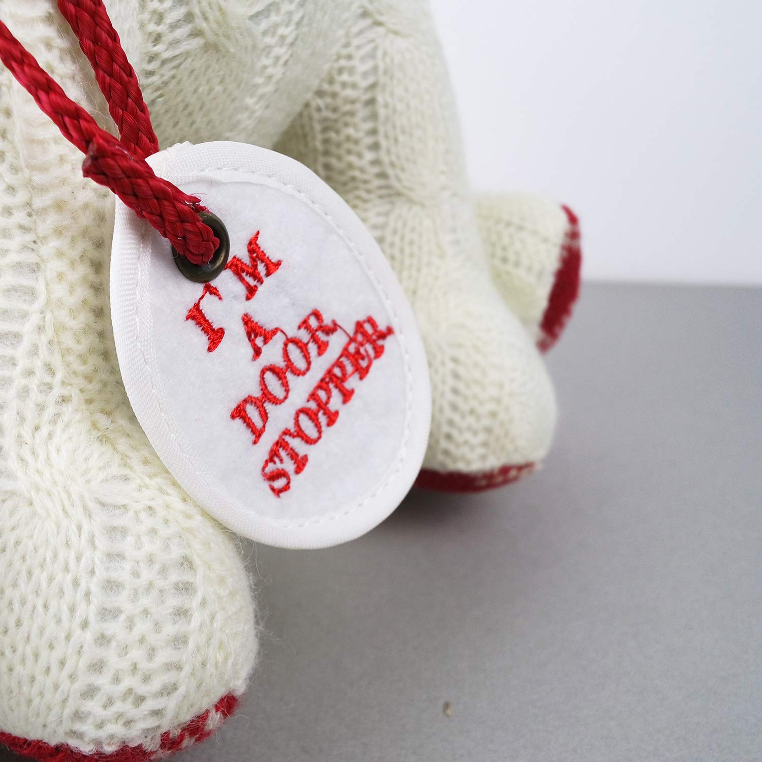 Stuffed Animal White Dog Door Stopper 1.73lb Home Decor Cable Knit Pattern by dwelling (Image #7)