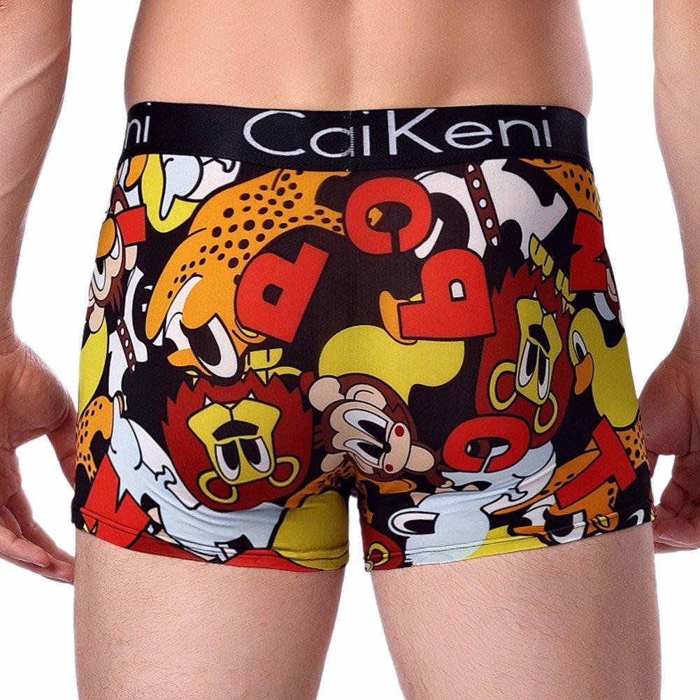 CAIKENI Men\'s Underwear Sexy Modern Ice Silk Underpants Comfort Fitting Trunk