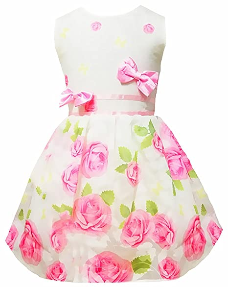 e0255da4cbc Little Girls Dresses Sweet Roses Floral Print Dress with Bowknot Sleeveless  Casual Dress Clothes for Toddler