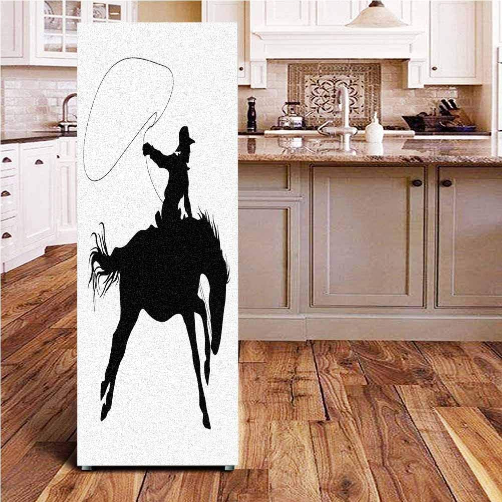 Angel-LJH Cartoon ONE Piece Door Sticker,Silhouette of Cowboy Riding Horse Rider Rope Sport Country Western Style Art Wall Decal Hallway Mural for Door/Wall/Fridge,24x70