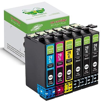 GREENBOX Compatible EPSON 29 29XL Cartuchos De Tinta Reemplazo(3 x Negro, 1 x Cian, 1 x Magenta, 1 x Amarillo) por Epson Expression Home XP-332 XP-335 ...
