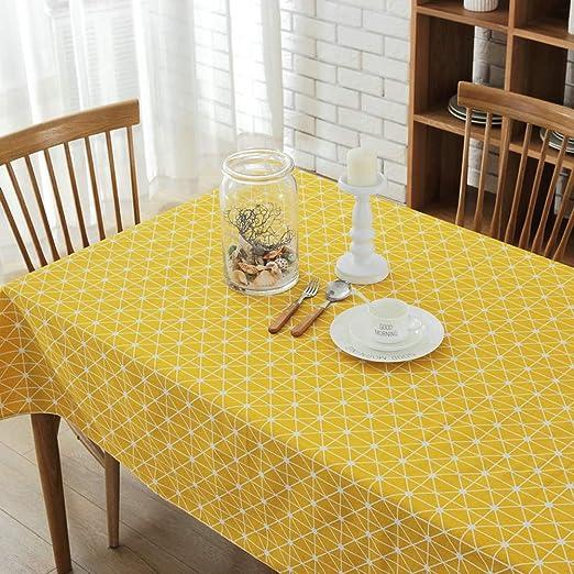 Morbuy Rectangle Mantel de Lino algodón Antimanchas, Stripe Mantel ...
