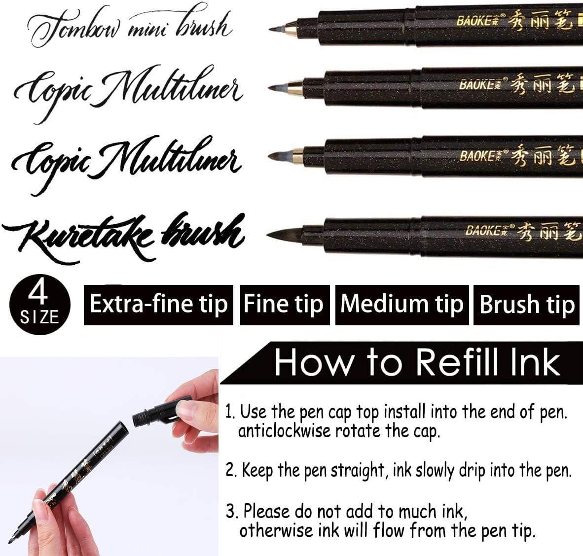 6 Pezzi Manga 4 Taglie Calligrafia Pennarelli Pennarelli Lettering Scrittura per Disegno Art Schizzo Calligrafia Pen