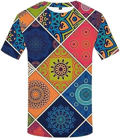 CHEMOXING Camiseta 3D Camiseta Geométrica De Flores Hombres ...