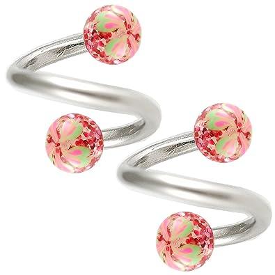 a8e180e76545b bodyjewellery helix spiral earring cartilage earring spiral barbell 16g  5/16 ear gauge twister glitter h Piercing BEDB