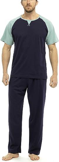 Foxbury Mens Contrast Raglan Sleeve Long Pyjama Set