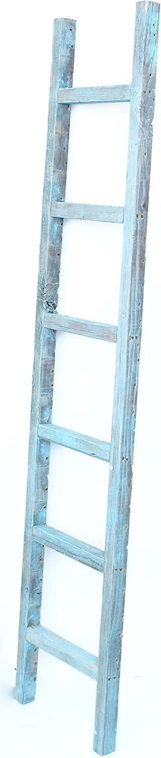 BarnwoodUSA Rustic Farmhouse Decorative Ladder - Our 6 ft Ladder can be Mounted Horizontally or Vertically and is Crafted from 100% Recycled and Reclaimed Wood | No Assembly Required | Robins Egg Blue