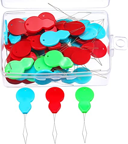 TecUnite 50 Pieces Gourd Shaped Plastic Needle Threaders with Clear Box,