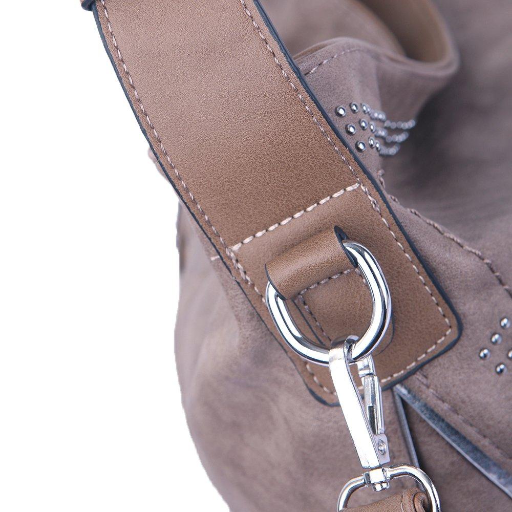 Handbags for women Hobo PU Leather Shoulder Satchel Bags Top-handle Large Capacity Purse Rivets Grey Brown by JOYSON (Image #2)
