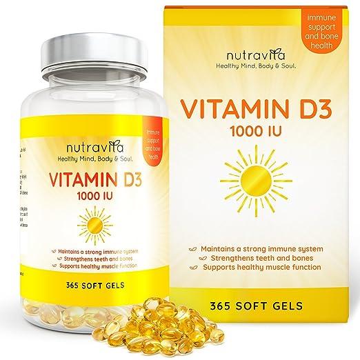 11 opinioni per Vitamina D3 1,000 IU 365 Capsule in gel Fornitura di un anno di Nutravita