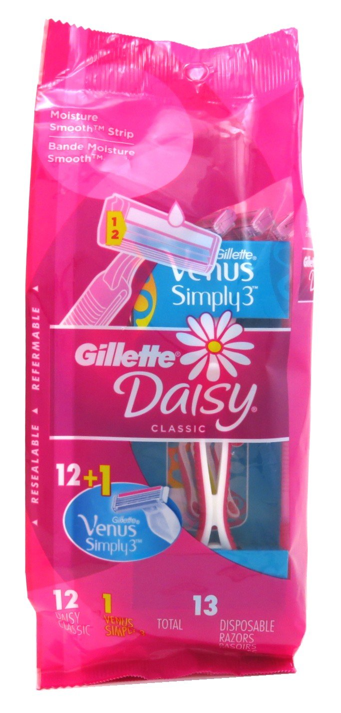 Gillette Womens Daisy Classic Razors 12 Count Disposable (3 Pack)