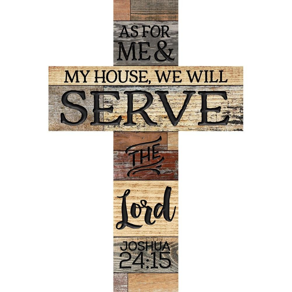 P. Graham Dunn As for Me & My House We Will Serve The Lord 36 x 24 Wood Wall Art Plaque Cross