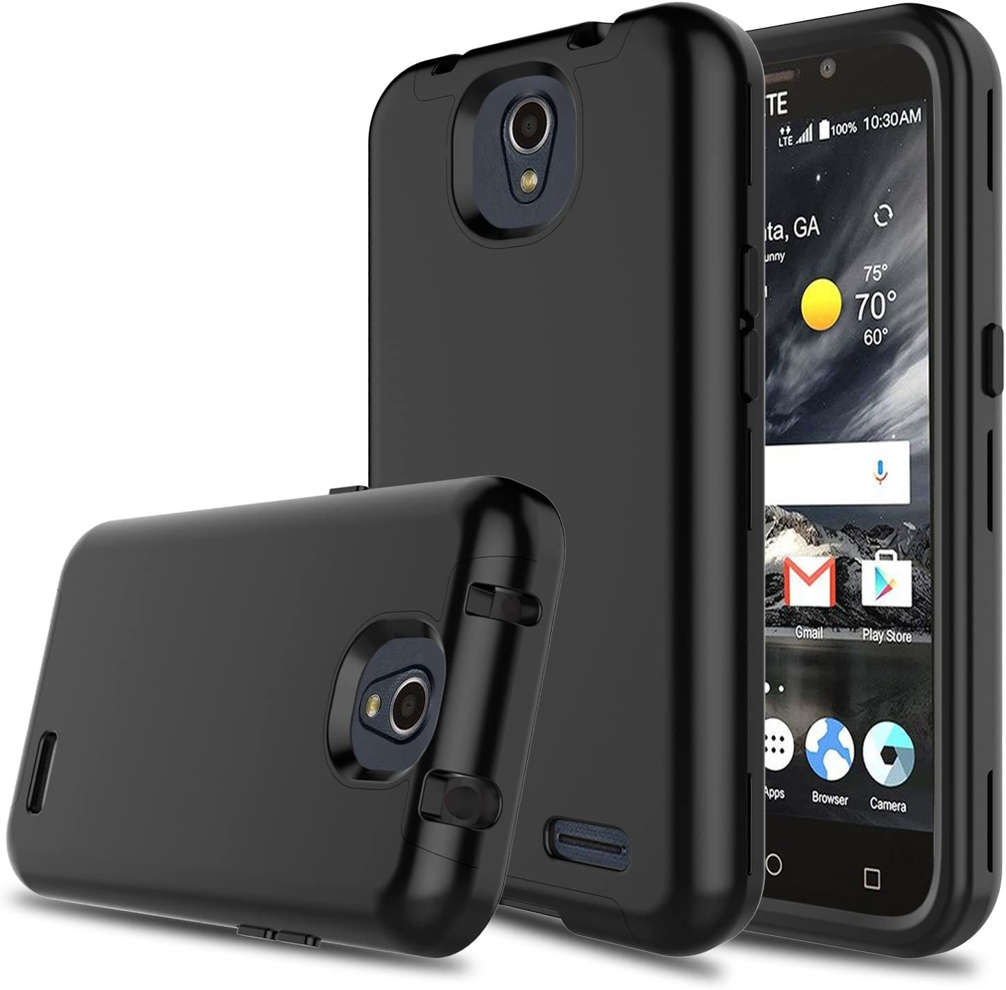 Innens Compatible with ZTE Maven 3 Case, ZTE Z835 Case, ZTE Prestige 2 Case, 3-in-1 [TPU + Dual Layer PC] Shockproof Rugged Protective Case Compatible with ZTE Overture 3/Prelude Plus (Black)