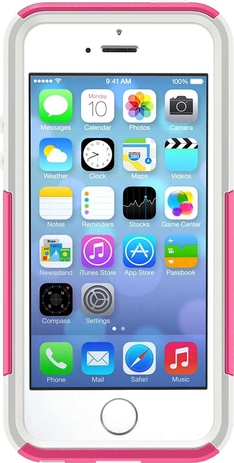 OtterBox COMMUTER SERIES Case for iPhone SE (1st gen - 2016) and iPhone 5/5s - Retail Packaging - HOT PINK (HOT PINK/WHITE)