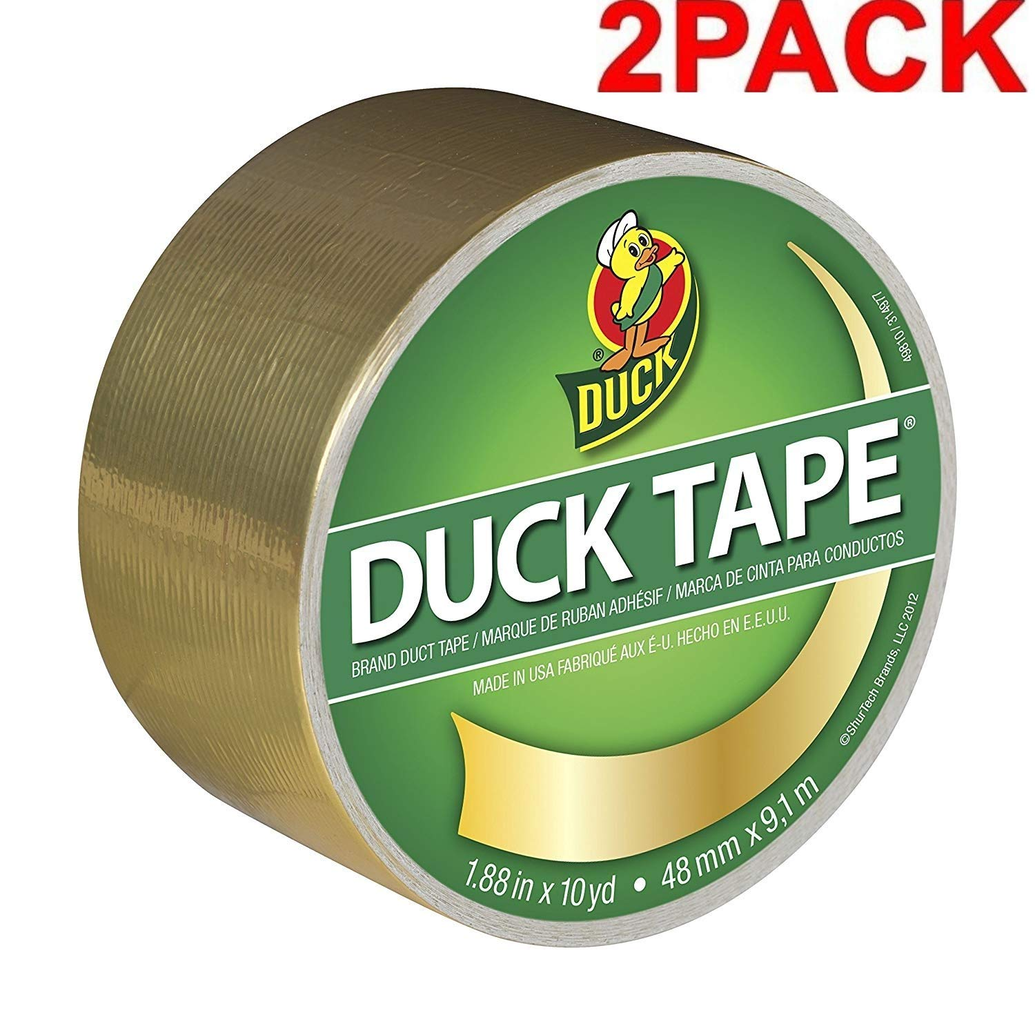 Gold Duck Brand 280748 Metallic Color Duct Tape 2 Pack Single Roll 1.88 Inches x 10 Yards