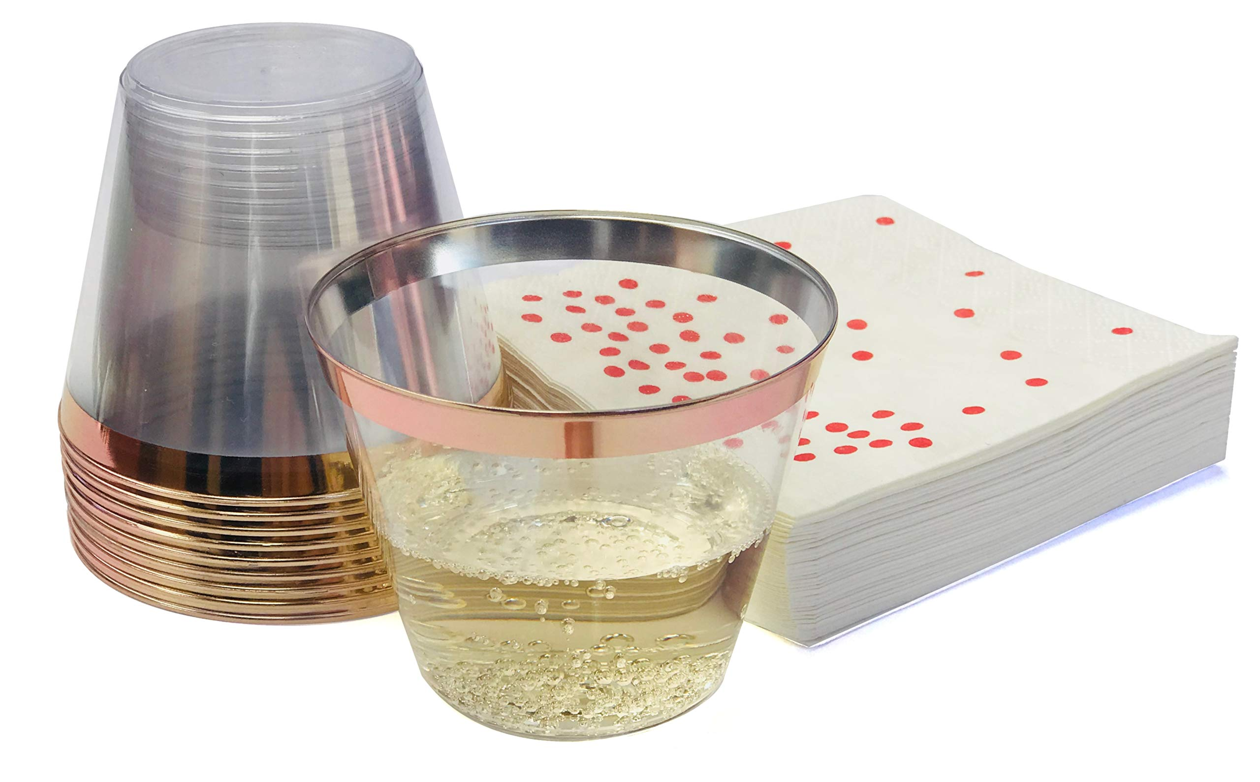 Premium 100 Rose Gold Rimmed 9 oz Clear Plastic Cups + FREE 100 Napkins ~ Perfect for Wedding/Engagement/ Cocktails/Dinner/Wine/Birthday Parties ~ GREAT VALUE PACK 100 ROSE GOLD RIM CUPS + 100 NAPKINS