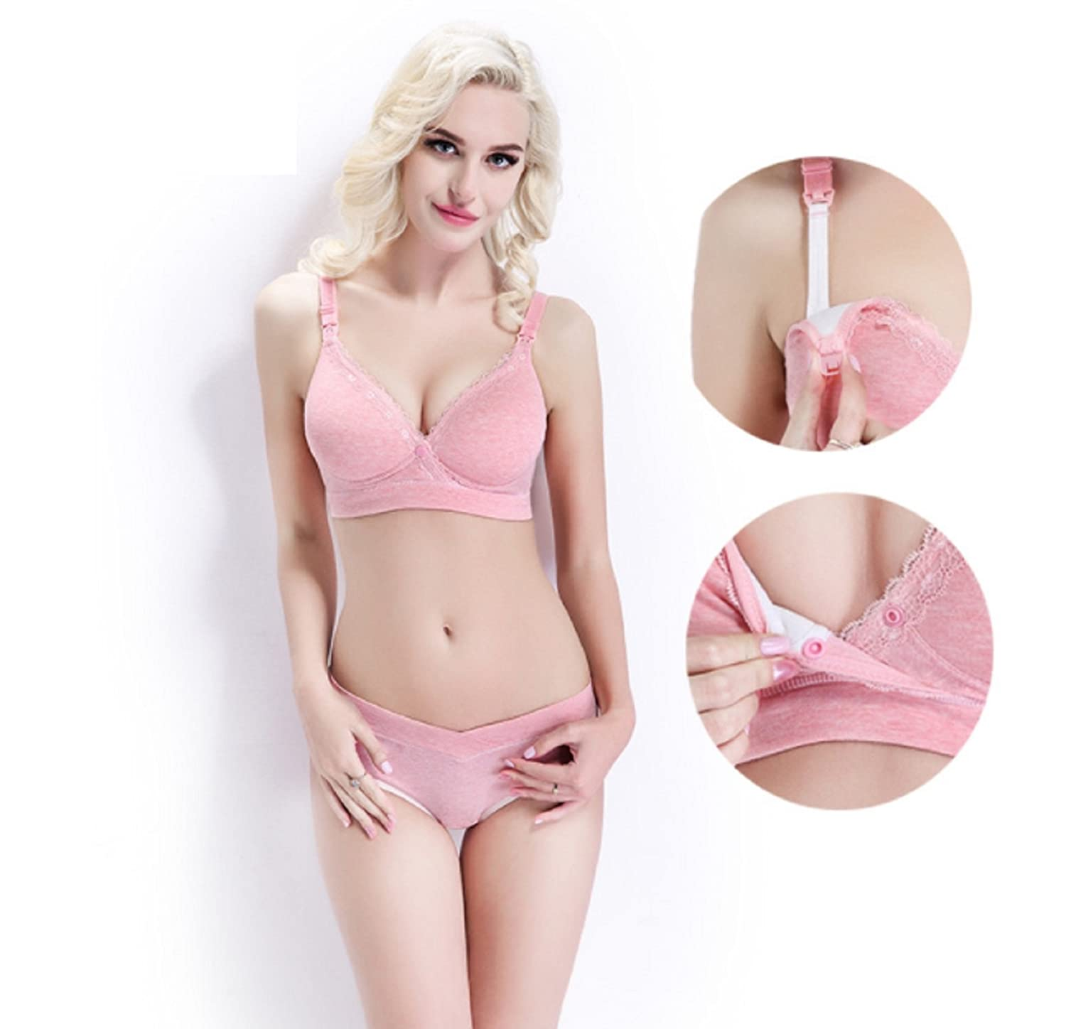 bc1b7afe6fb17 Amazon.com : Maternity Nursing Bra+Underwear Lace Breastfeeding Bra for Pregnant  Women Pregnancy Underwear Clothes Panties Bra Sets (B40, Pink) : Baby