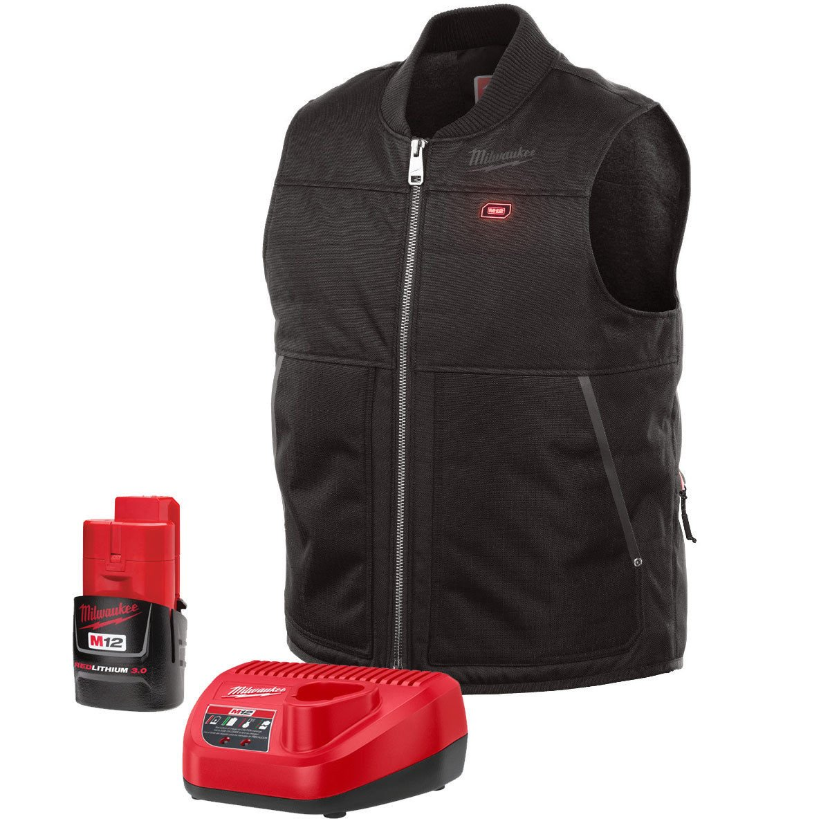 Milwaukee Vest KIT M12 12V Lithium-Ion Heated Front and Back Heat Zones - Black Color All Sizes -Battery and Charger Included- (Extra Large)
