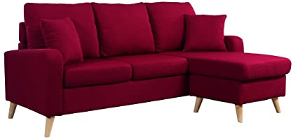 Superb Divano Roma Furniture Mid Century Modern Linen Fabric Small Space Sectional  Sofa Reversible Chaise (Red
