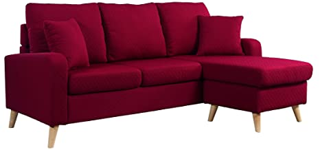 Awesome Divano Roma Furniture Mid Century Modern Linen Fabric Small Space Sectional Sofa With Reversible Chaise Red Short Links Chair Design For Home Short Linksinfo
