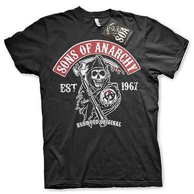 Sons of Anarchy Camiseta con Logo Samcro SOA T-Shirt - 100% Oficial: Amazon.es: Ropa y accesorios