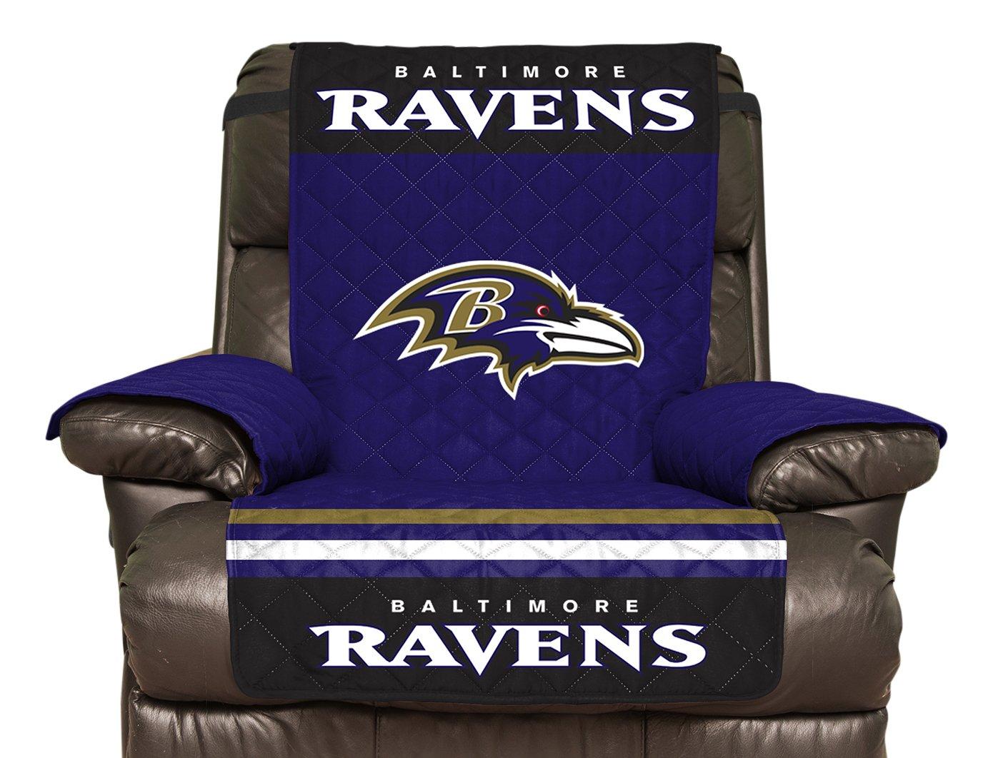 Pegasus Sports NFL Baltimore Ravens Recliner Reversible Furniture Protector with Elastic Straps, 80-inches by 65-inches by Pegasus Sports