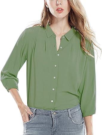 StyleDome Shirt Blusa Camisa Sexy Casual Oficina Elegante Manga Larga Mujer Verde verde claro: Amazon.es: Ropa y accesorios