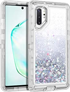 WOLLONY for Galaxy Note 10 Plus Case, Glitter Heavy Duty Girly Liquid Bling Quicksand 3 in 1 Hybird Impact Resistant Shockproof Hard Bumper Soft Clear Rubber Cover for Galaxy Note 10+ 5G Sliver