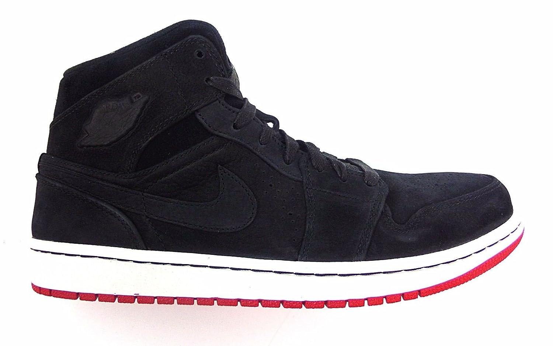 Alta calidad Nike Hombre Air Jordan 1 Mid Baloncesto Zapatos Negro/Negro-gym Rojo-sail 102EL