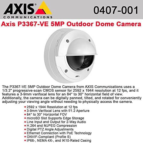 Axis P3367-VE Surveillance Network Camera – Color, Monochrome – LE5072